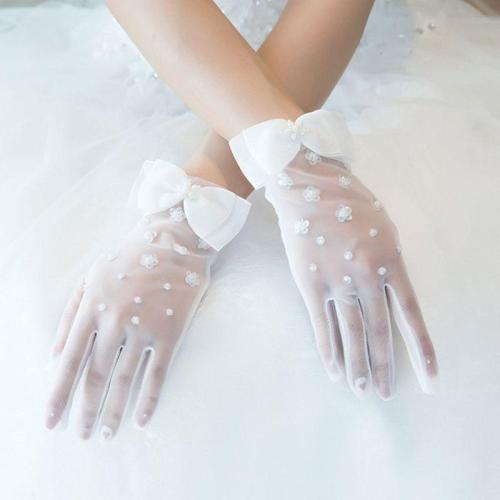 Simple Short Spring Summer Mesh Thin Section Gloves Artificial Pearl Bow New Wedding Dress Bride Glove