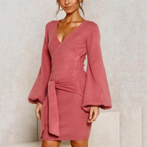 Long Sleeved And Solid V-neck Bodycon Dress