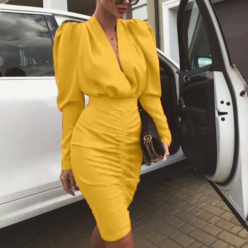 Fashion V-neck Solid Color Long-sleeved Bodycon Dress