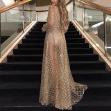 Sexy V-Neck Halter Check Sequin Long Evening Dress