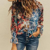 Casual Printed Color Long Sleeve Polyester Fiber Blouse