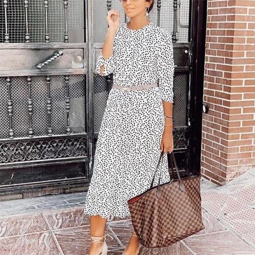Fashion Casual Fit Polka Dot Casual Maxi Dress