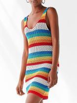 Hollow Colorful Beach Knitting Cover-ups Swimwear