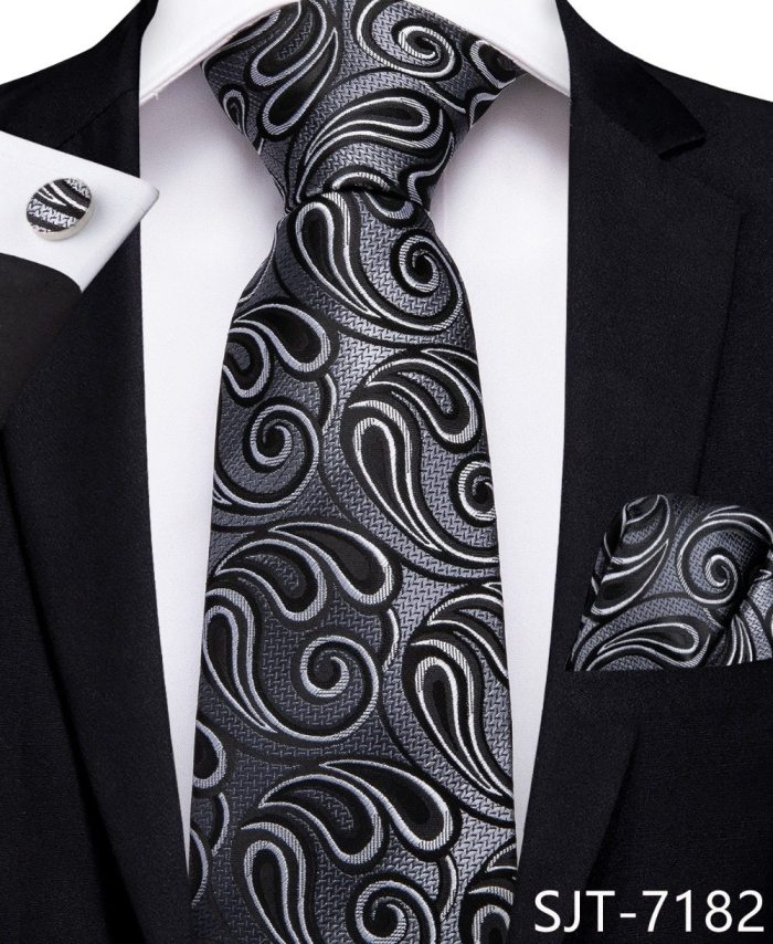SJT-7182 EBUYTIDE Classic Black Gray Paisley Ties for Men 100% Silk Necktie Hanky Cufflinks Ties Business Wedding Party Tie Set