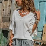 Fashion Pure Color V   Neck Loose T-Shirt Blouse