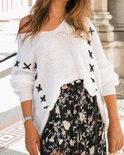 V Neck Rib Knit Top