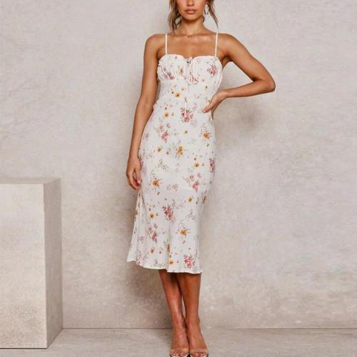 Fashion Thin Shoulder Strap Lace Up Flower Print Dress
