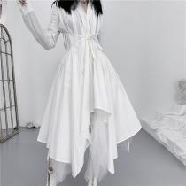 Fashion Irregular Turndown Collar Pure Colour Belted Long Sleeve Dress
