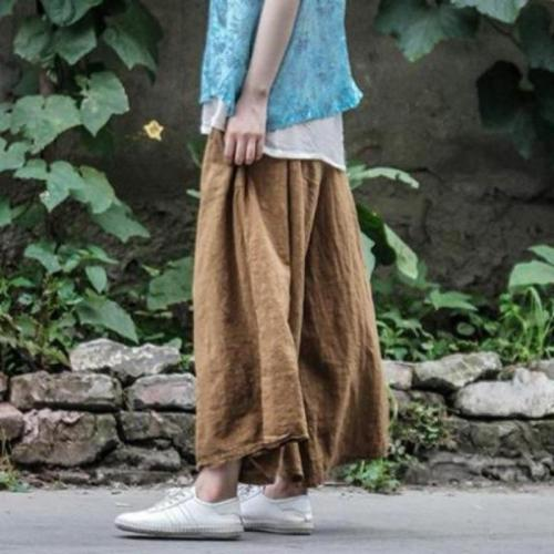 Wide Leg Casual Linen Trousers