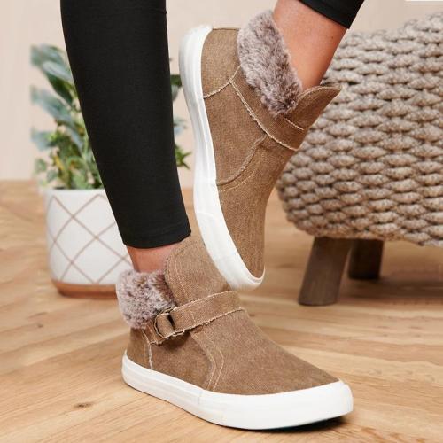 Women's Fashion Solid Color Plus Velvet Buckle Boots