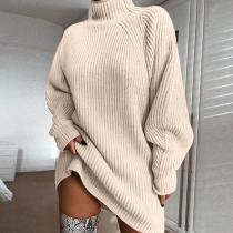 Loose Turtleneck Balloon Sleeve Sweater Dress