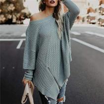 Stylish Casual Loose Plain Thermal Irregular Hem Long Sleeve Sweater