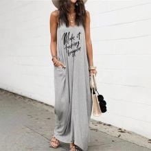 EBUYTIDE Loose Letter Print Sleeveless Maxi Dress