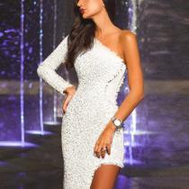Elegant Sexy One Shoulder Asymmetry Evening Dress