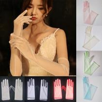 Sexy Sheer Tulle Gloves Ultra Thin Gloves Elbow Long Gloves Photo Shooting Accessory Transparent Full Finger Gloves for women