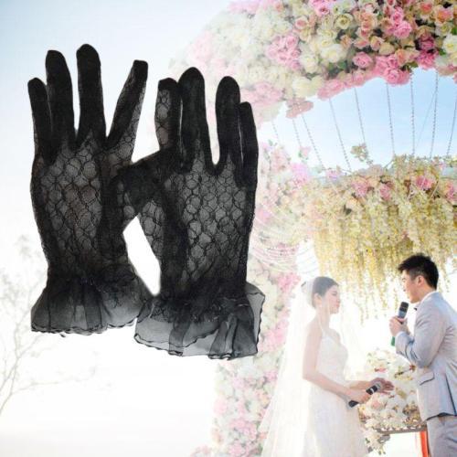 Bridal Lace Net Yarn Gloves Wrist Length Gloves Finger Short Wedding Accessories