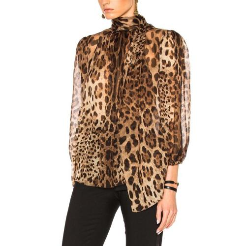 Fashion High Collar Belted Leopard Print Bishop SleeveSee-through Blouse