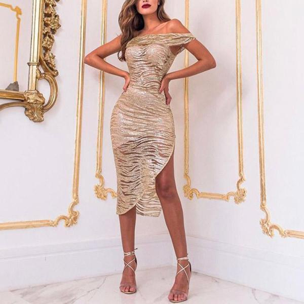 Sexy Retro One Shoulder Side Slit Tube Top Bodycon Dress