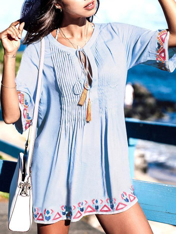 Embroidered Lace-up Pleat Cover-ups Swimwear