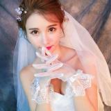 Women Bridal See Through Full Fingered Short Gloves White  Length Scalloped Geometric Lace Trim Bowknot Decor Wedding Party