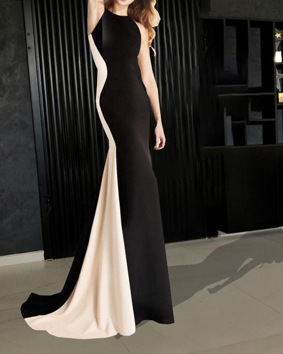 Fashion Slim Color Matching Sexy Evening Dress