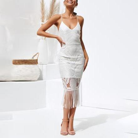 Sexy Slim Sling Deep V Cutout Fringe Lace Dress