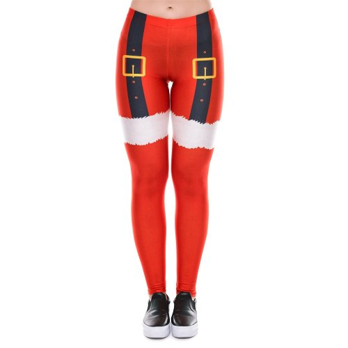 Color Block Middle Waist Women Red Christmas Skinny Leggings