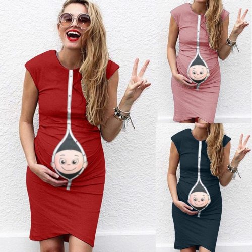 2020 Fashion clothes for pregnant Women's maternity dress Pregnanty Sleeveless Summer Cartoon Baby born Print Pregnants Dress