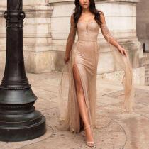 Sexy Strapless Slit Evening Dress