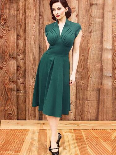 Green 1950s Wrap Swing Midi Dress