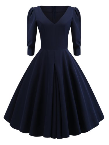 Dark Blue 1950s Solid 3/4 Sleeve Dress