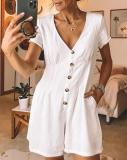 EBUYTIDE Elegant V-Neck Short Sleeve Button-Up Jumpsuit