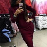 Slim Round Neck Pullover Long Sleeve Bodycon Dress