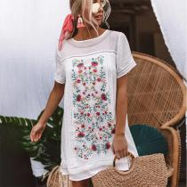 Dreaming Of Summer Print Dress In White