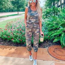 EBUYTIDE Stylish Sleeveless Camouflage Print Jumpsuit
