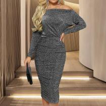 Fashion Sexy Gold Thread Oblique Shoulder Bag Hip Dress
