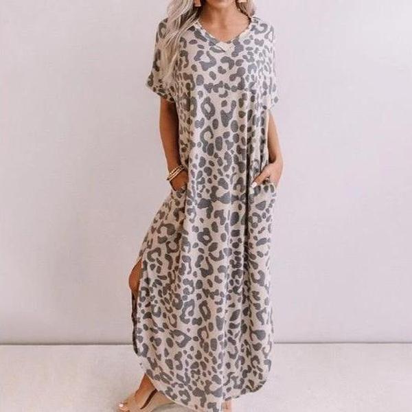 Casual Loose Short Sleeve Maxi Dress
