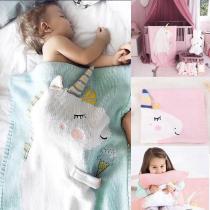 mylb Stock Newborn Baby Fleece Blanket Pram Crib Moses Basket Blue Pink Unicorn