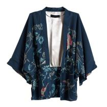 2020 Autumn Harajuku Women Japanese Kimono Printed Bat Sleeve Loose Cardigan Blouse