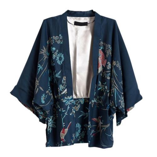 2020 Autumn Harajuku Women Japanese Kimono Printed Bat Sleeve Loose Cardigan Blouse