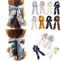 Elegant Chiffon Bow Streamers Scrunchies Floral Printed Elastic Ribbon Bands Women Girls Korean Hair Rope Ties Hair Accessories