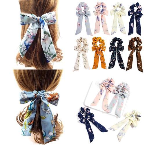 Elegant Chiffon Bow Streamers Scrunchies Floral Printed Elastic Ribbon Bands Women Girls Korean Hair Rope Ties Hair Accessories
