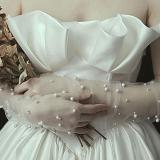 Simple Wedding Dress Gloves Bride Long Glove Photography Props Thin Section Mesh Artificial Pearl Mittens E15E
