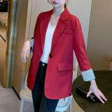 2020 New Grey Black Red Pink Blazer Women Solid Color Thin Pocket Spring Autumn Jackets Office Casual Loose Korean Blazer Female