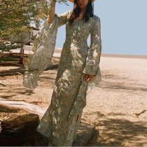 Bohemian Printed Colour V Neck Ruffled Bell Sleeve Slit Dress