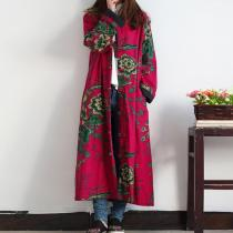Floral Chinese Linen Trench Coat