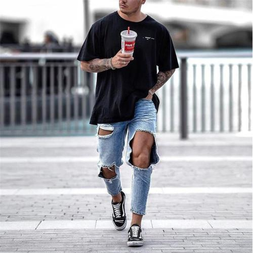 Men's Fashion Hole Denim Trousers