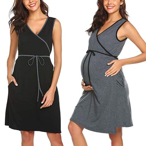 Nursing Dress Maternity Dress Women's Maternity Sleeveless Dress Ruffles Nursing Baby Vest Pregnancy Sundress Solid Pregnants