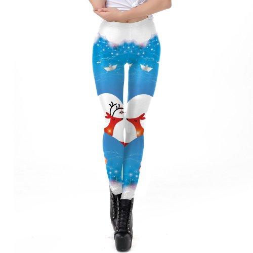 Cartoon Print Middle Waist Elastic Women Skinny Christmas Leggings
