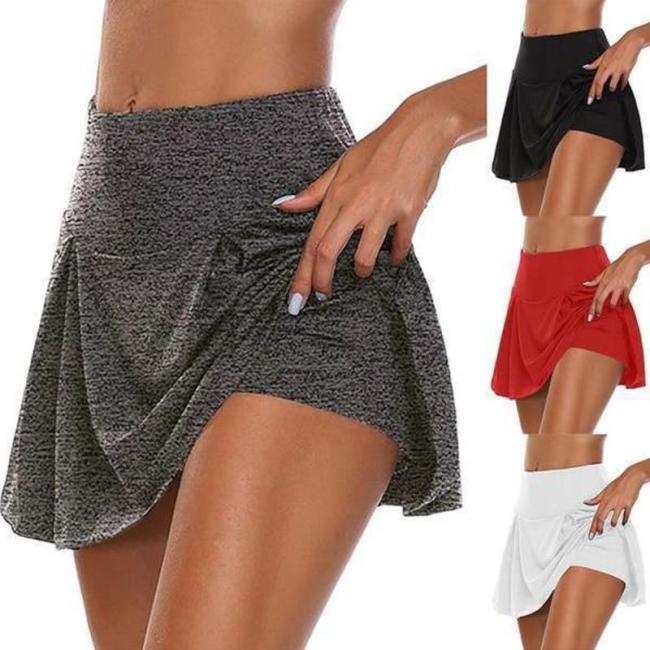 Women's Tennis Skirt Solid High Elastic Waist Black Plus Size 5XL Stylish Skirt 2020 Summer New Chic Sexy Mini Sports Skirts